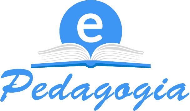 The image is the website logo. Formed by an open book, in the center a blue circle with the letter E on a bench, next to the book is the word pedagogy.