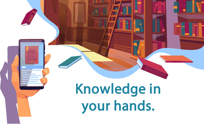 The image shows a hand holding the cell phone that shows a screen of a website with a book, in the bottom part of the image you can see a library full of books and a ladder to climb the crowded shelves. Highlighted the text: Knowledge in your hands.